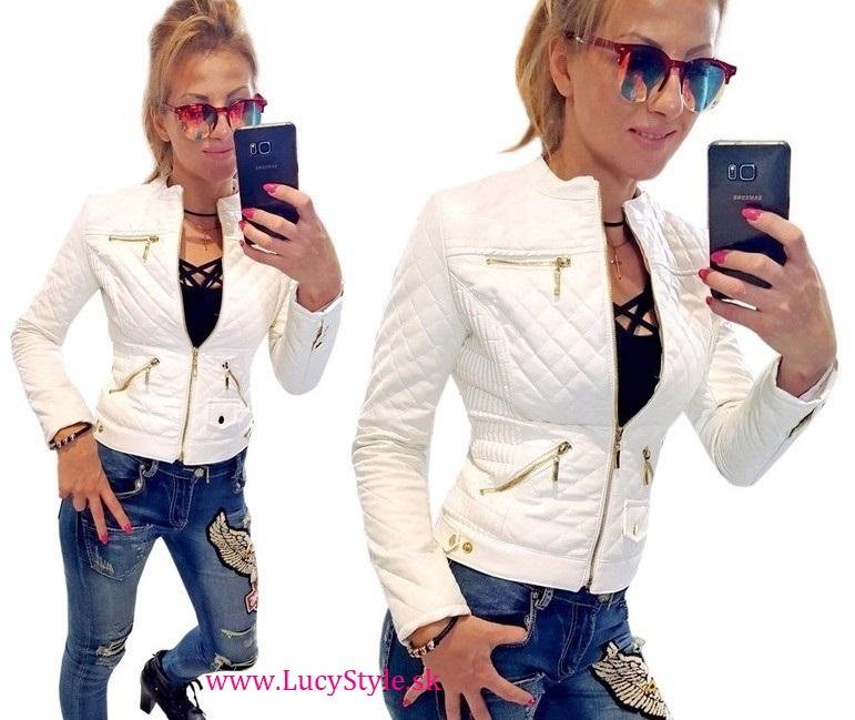 Krásna dámska koženková bunda,biela (Štýlová dámska koženková bunda)