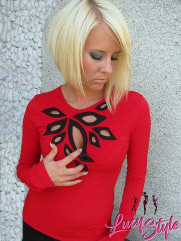 Krásne dámske tričko,červeno čierne