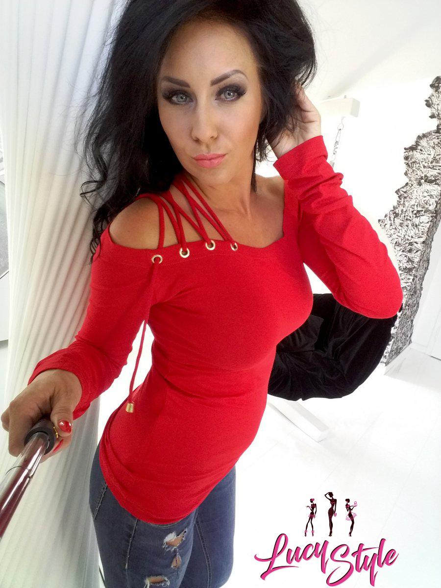 Červené dámske tričko s viazanim (Červené dámske tričko s viazanim)