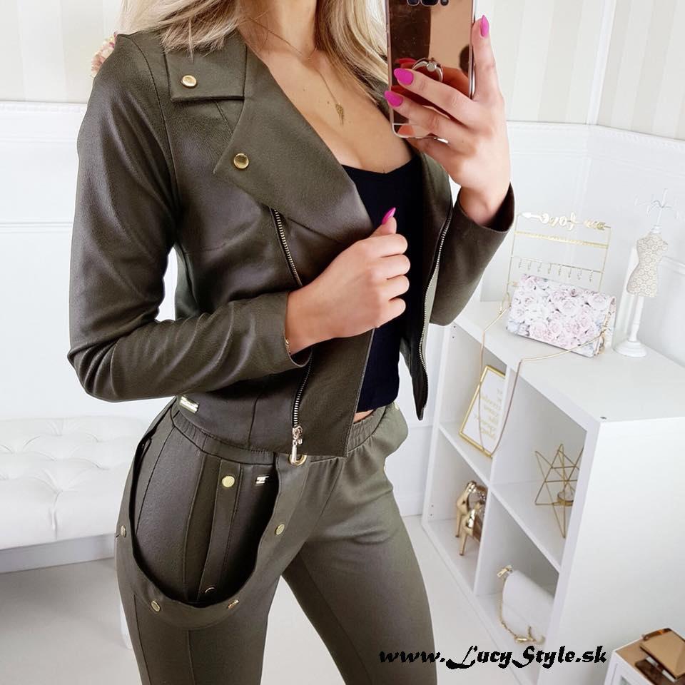 Luxusný dámsky nohavicový komplet v khaki farbe (Luxusný dámsky nohavicový komplet v khaki farbe)