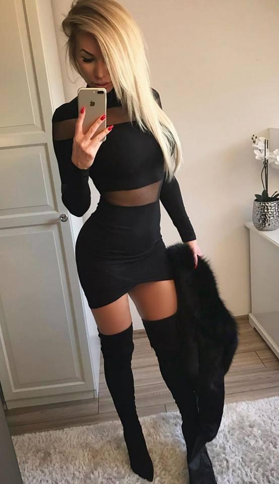 Dámske sexy čierne šaty