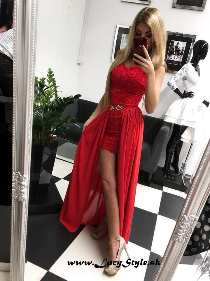 Dámske spoločenské červené šaty (Luxusné dámske spoločenské šaty,čipkované v červenej farbe)