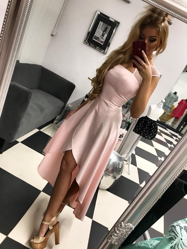 Elegantné a jednoduché spoločenské šaty ,ružové (Elegantné jednoduché, spoločenské šaty ,ružové)