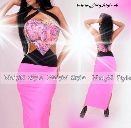 Neonovo ružové dámske maxi šaty (Neonovo ružové dámske maxi šaty)