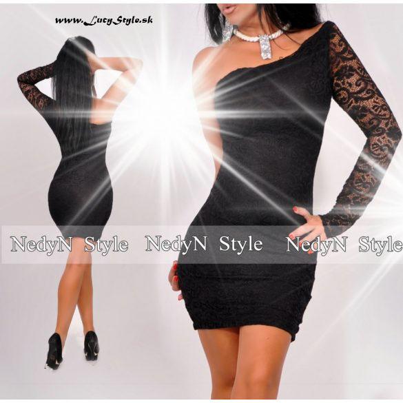 Dámske čipkované šaty s jedním rukávom (Dámske čipkované mini šaty s jedním rukávom)