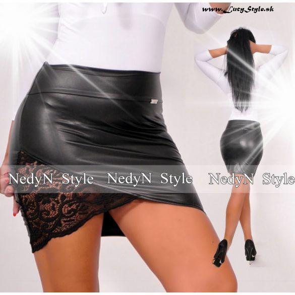 Dámska čierna sukňa s čipkou imitacia kože (Dámska čierna kožená sukňa s čipkou)