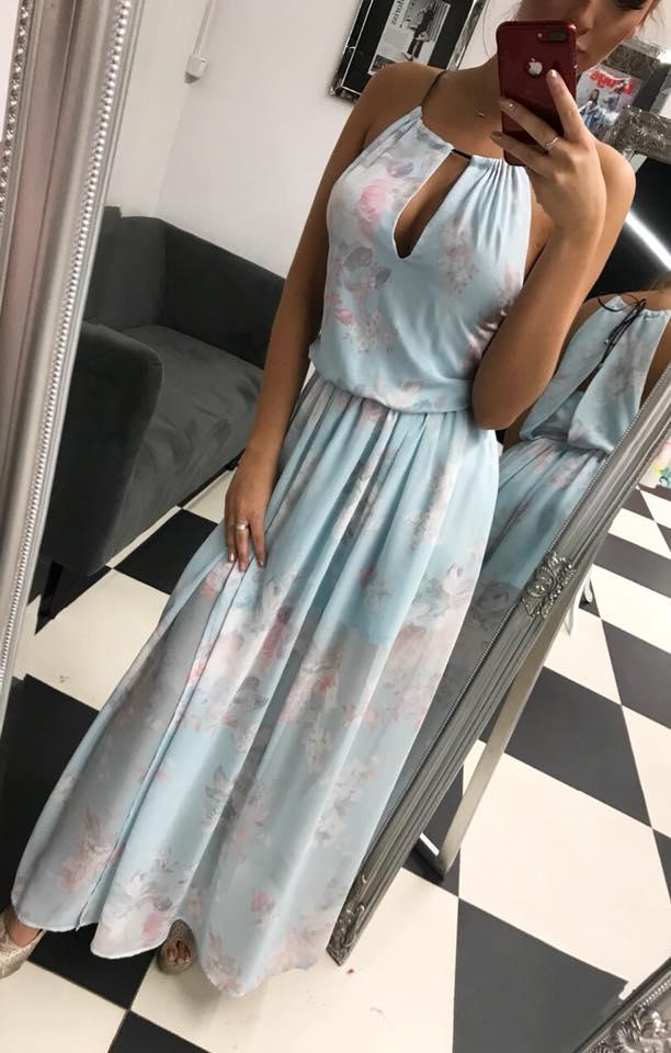 Spoločenské kvetované šaty (Spoločenské kvetované šaty modre)