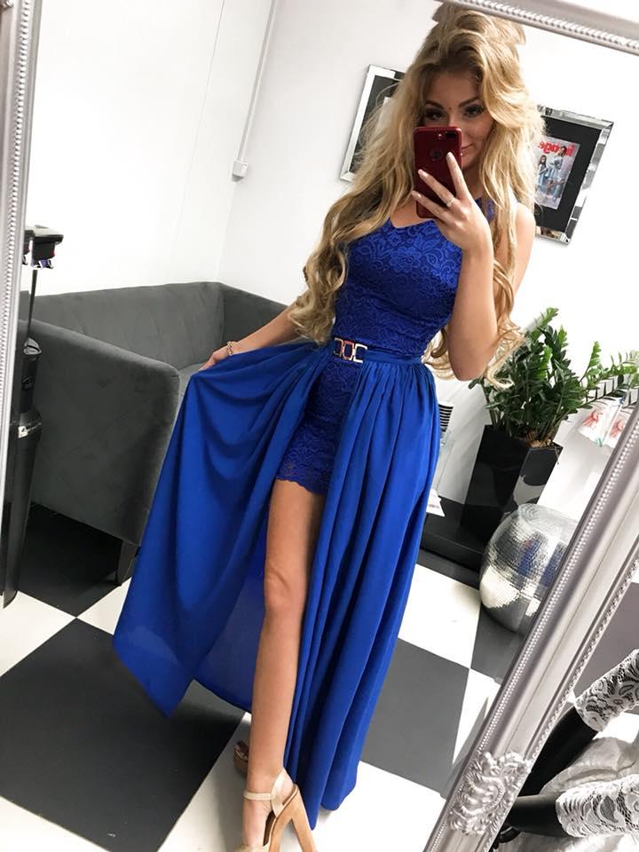 cdb0037f0540 Krásne kráľovský modré spoločenské šaty dvojdielne (Krásne kráľovský modré spoločenské  šaty )