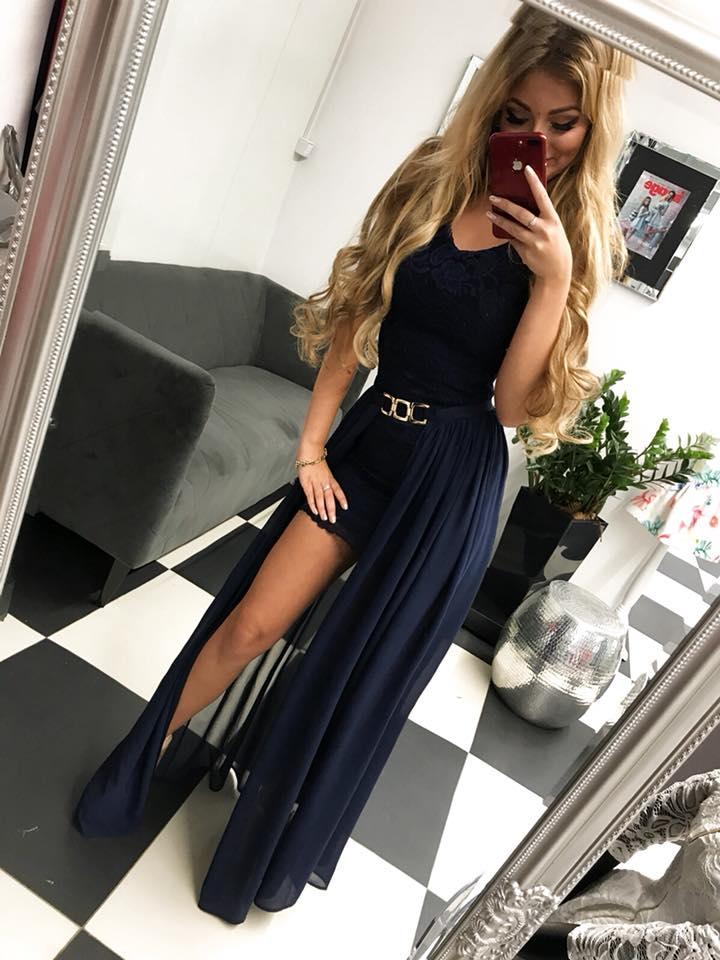 45b236dce Spoločenské dlhé dámske šaty tmavo modre (Spoločenské dlhé dámske šaty  tmavo modre,dvojdielne)