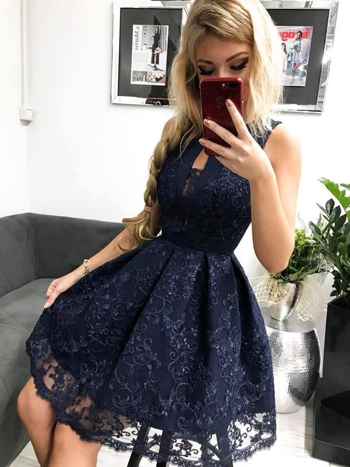 475edc995 Spoločenské krátke šaty s čipkou,tmavo modre (Spoločenské krátke šaty s  čipkou,tmavo