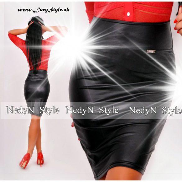 Dámska koženková sukňa,čierna-nedyn