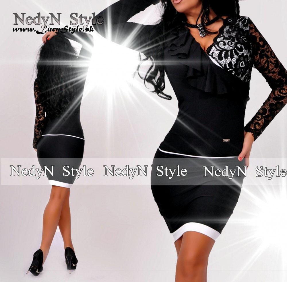 1b97e7a825b6 Dámske elegantné šaty s čipkovaným rukávom (Dámske elegantné šaty s  výstrihom