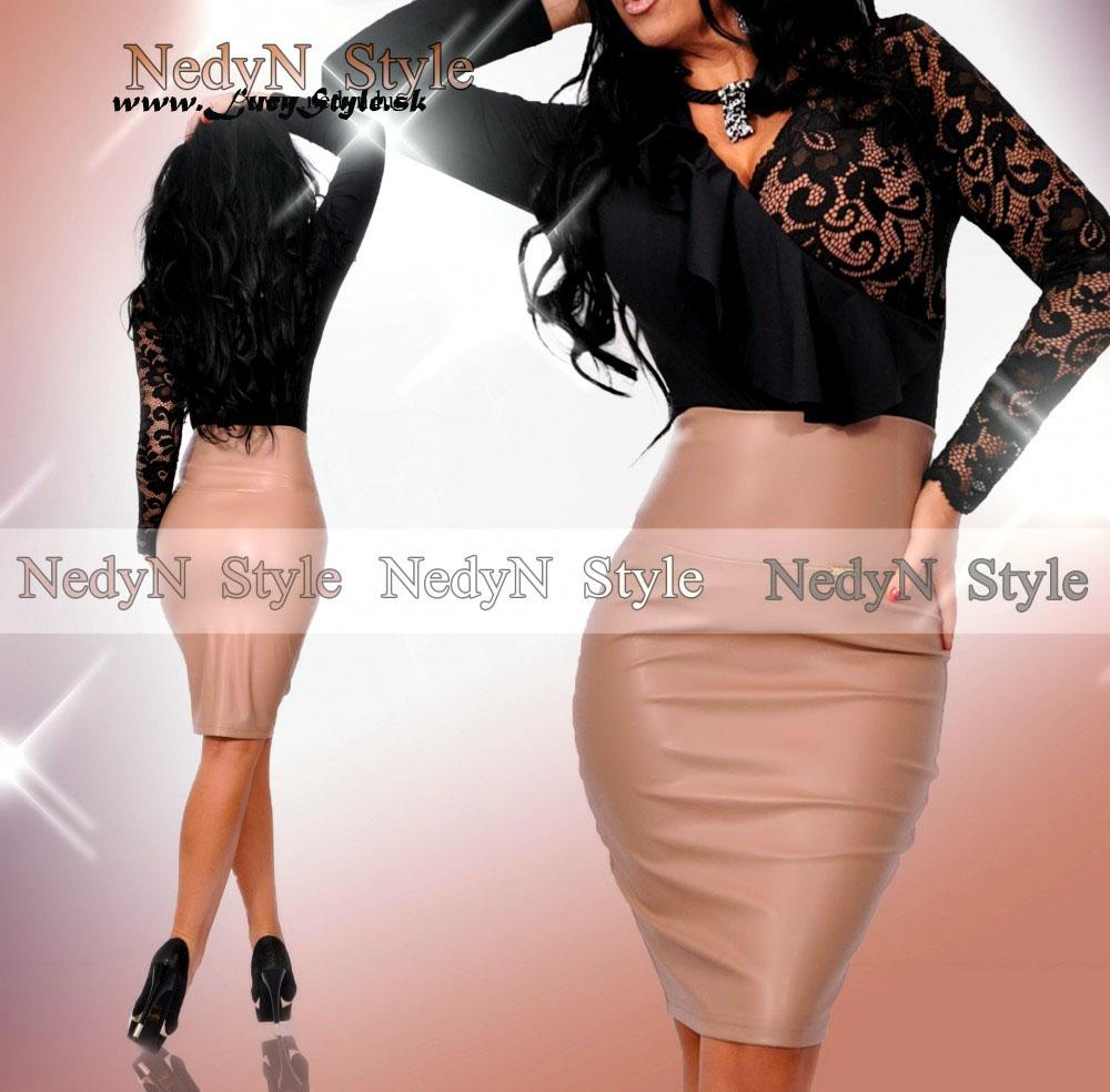 Dámska koženková sukňa s vysokým pásom (Dámska koženková sukňa s vysokým pásom)