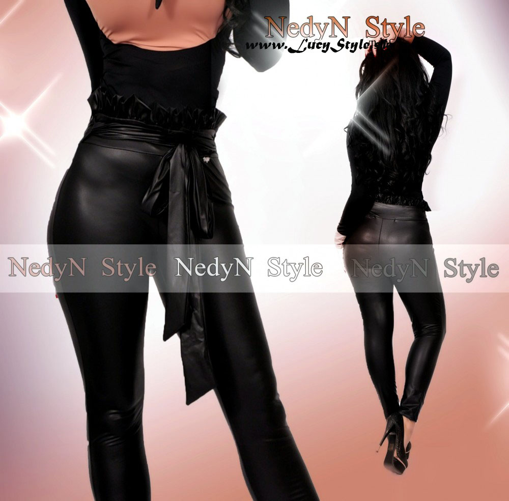 Dámske nohavice s vysokým pásom (Dámske nohavice s vysokým pásom,imitacia kože)