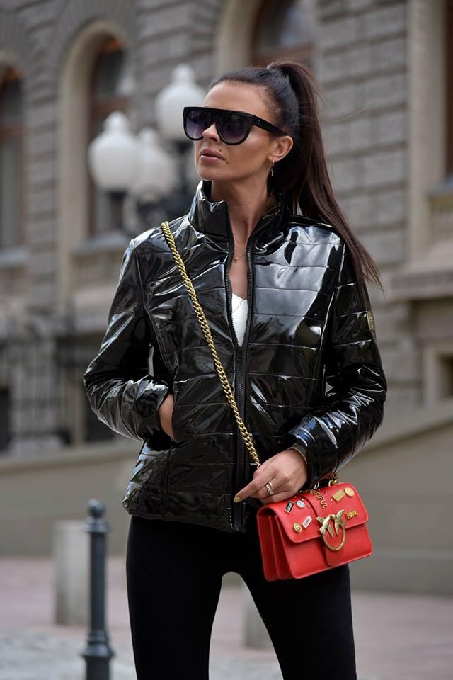 Dámska lesklá bunda,čierna (Dámska lesklá bunda,čierna)