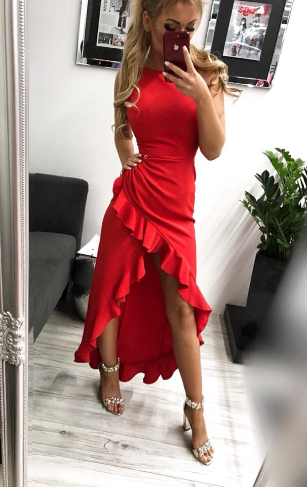 Dámske spoločenské šaty červené s volánikom (Dámske spoločenské šaty červené s volánikom)