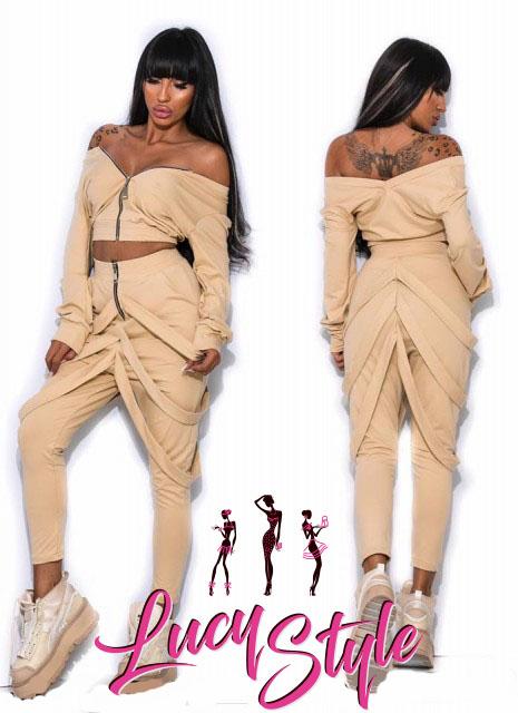 Dámska súprava,kremová (Štýlová dámska súprava,krémová top+nohavice)