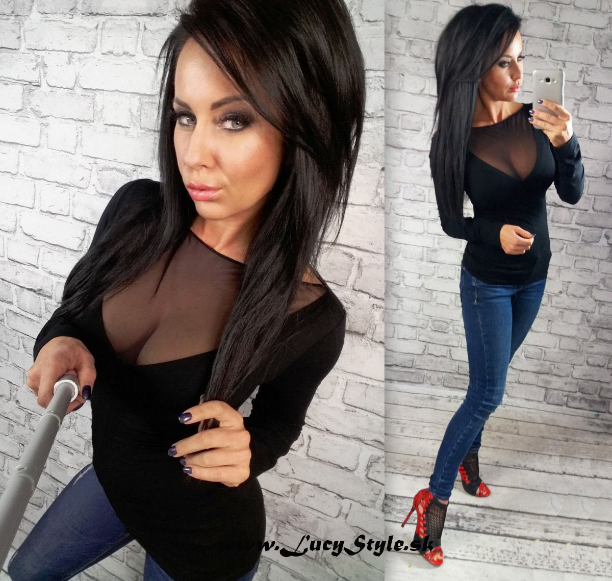 Dámske čierne tričko s dlhým rukávom (Dámske čierne tričko s dlhým rukávom,čierne)