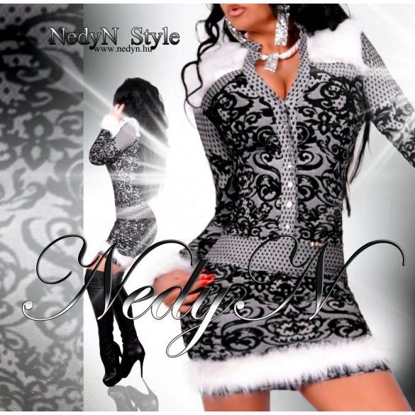 Dámske šaty vzorované s kožušinkou (Dámske šaty)