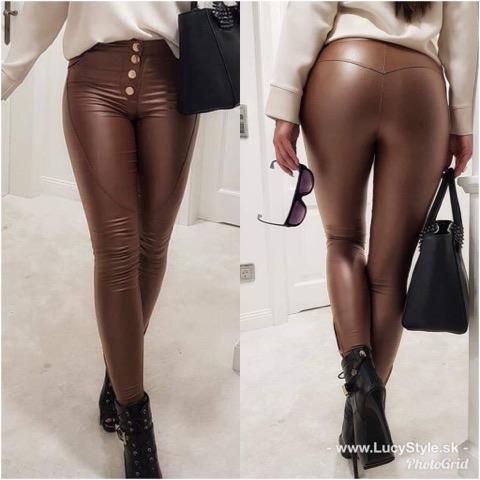 Dámske hnede nohavice na gombiky (Dámske hnede nohavice na gombiky,kožene)