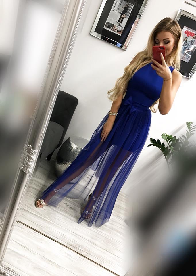 Dámske spoločenské dvojdielné šaty tmavo-modré (Dámske spoločenské dvojdielné šaty tmavo-modré)