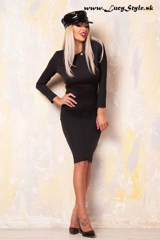 Elegantné jednoduché a sexy čierne šaty -Foggi