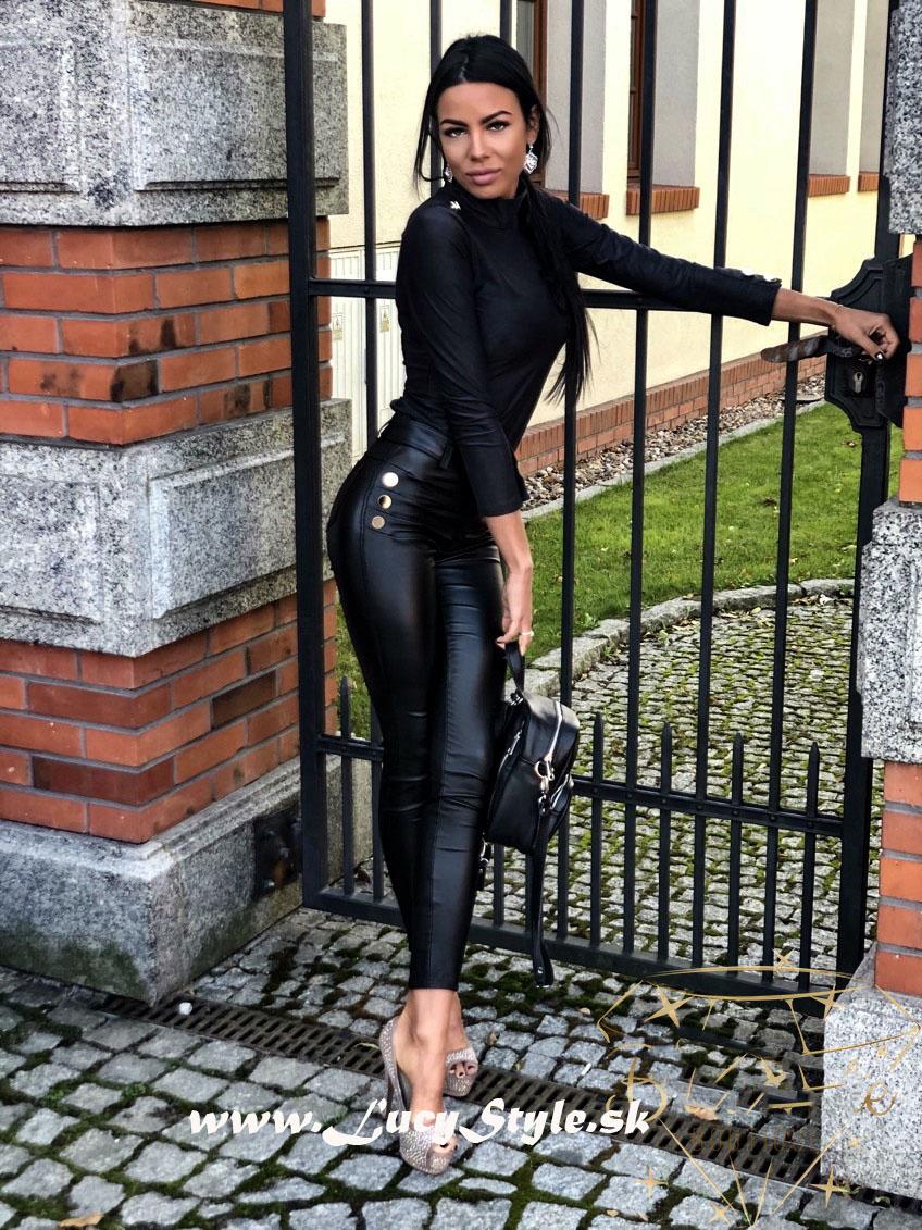 Dámske leginové nohavice,čierne kožene
