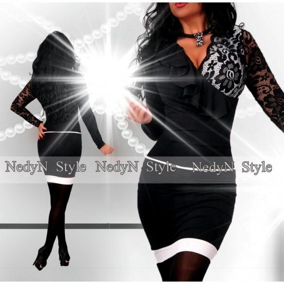Dámske elegantné šaty s čipkou v čierno bielej farbe-nedyn