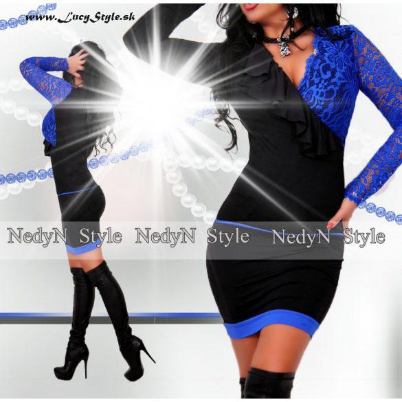 Elegantné dámske šaty s čipkou modro čierne (Elegantné dámske šaty s čipkou modro čierne)