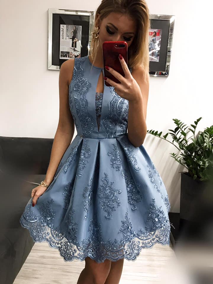 Spoločenské krátke šaty s čipkou,modré (Spoločenské krátke šaty s čipkou,modré)