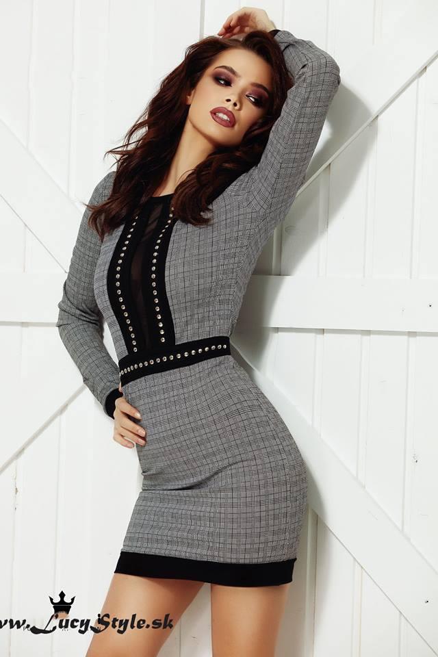 Dámske šaty (Dámske sivo čierne šaty)