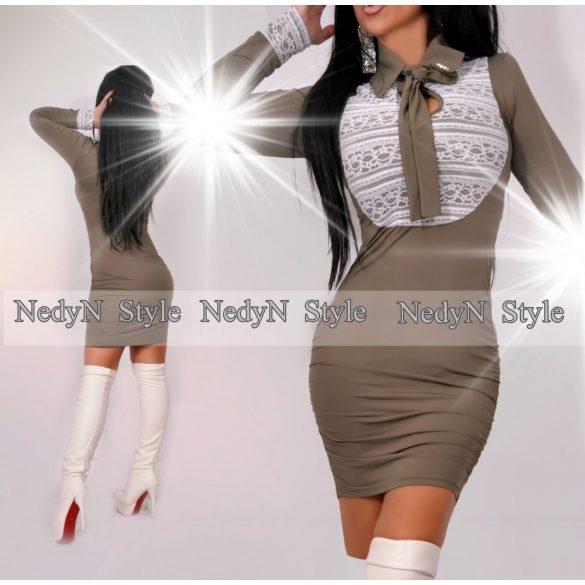 Dámske elegantné šaty v khaki farbe s čipkou (Dámske elegantné šaty s čipkou)
