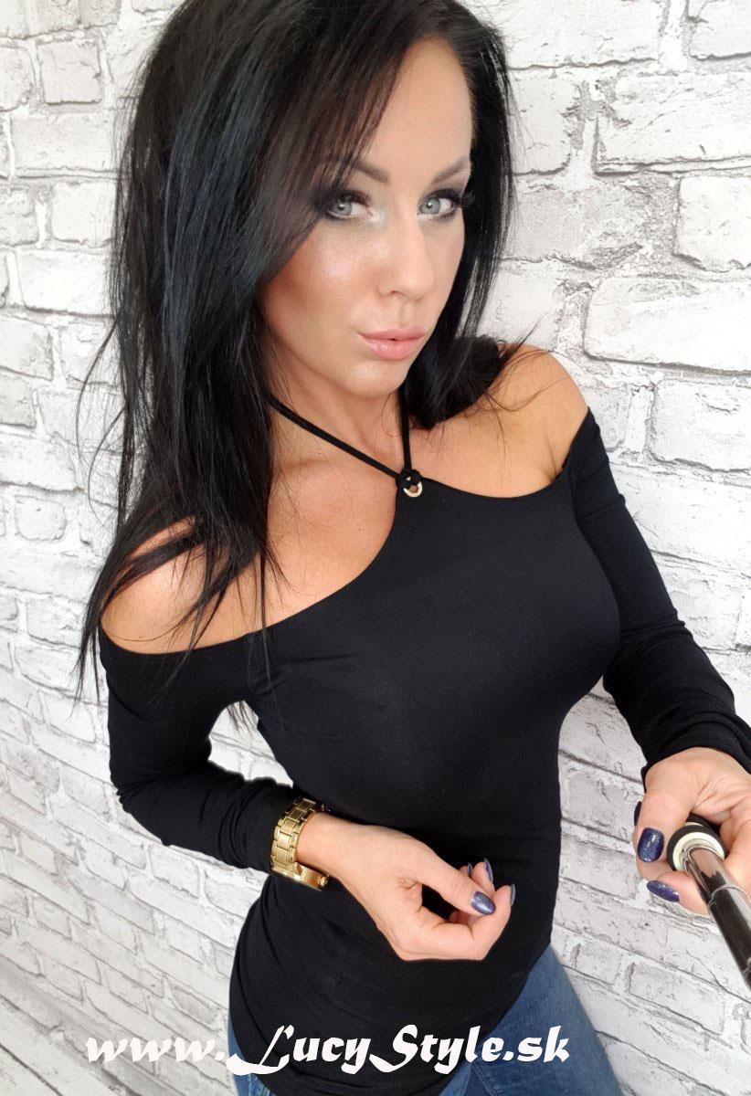 Dámske tričko,čierne (Dámske sexy tričko v čiernej farbe)