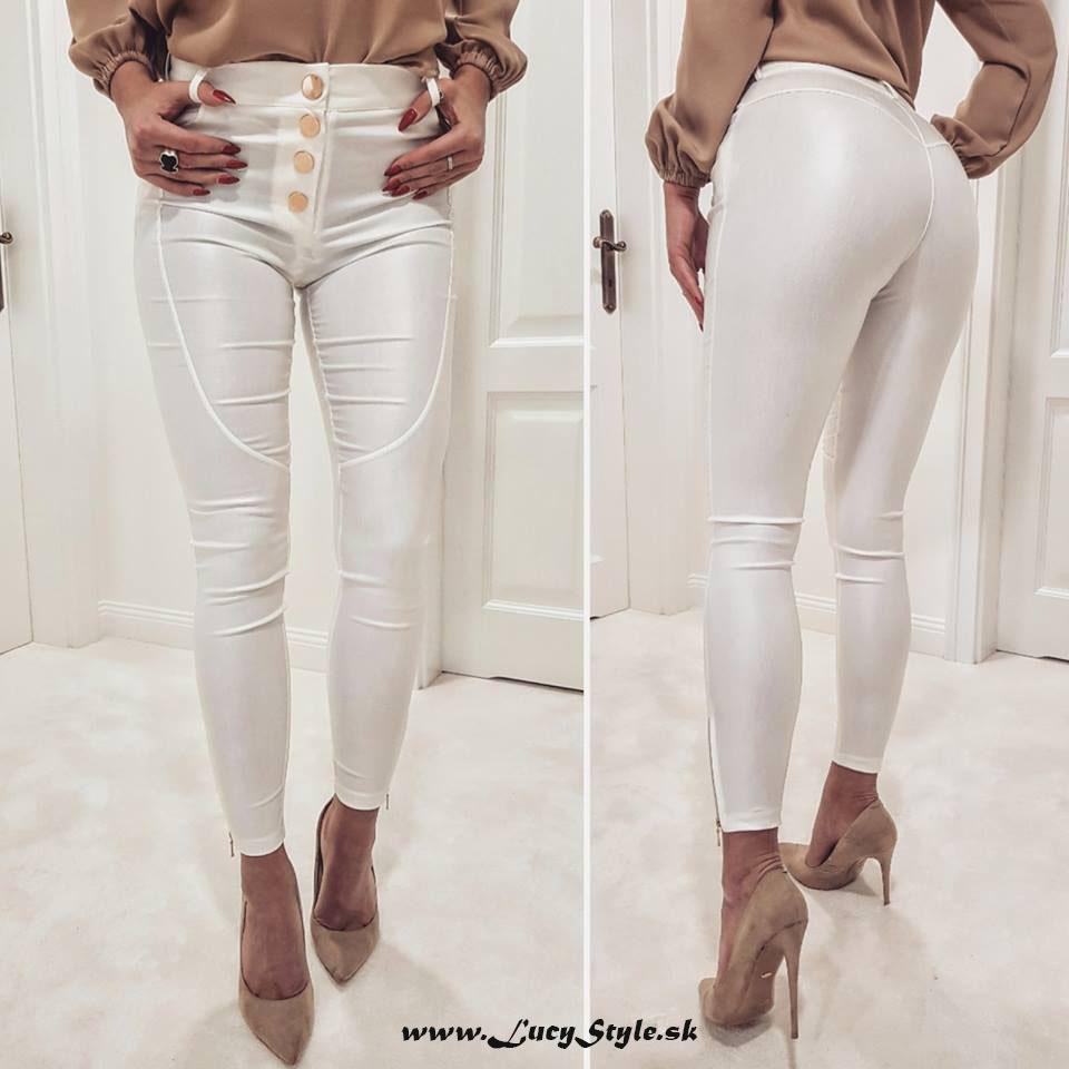 NOHAVICE ,dámske nohavice vzhľad kože,biele