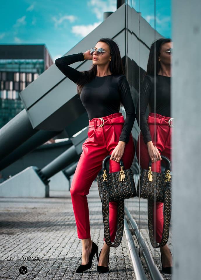 Dámske nohavice (Dámske nohavice s vysokým pásom,červené)