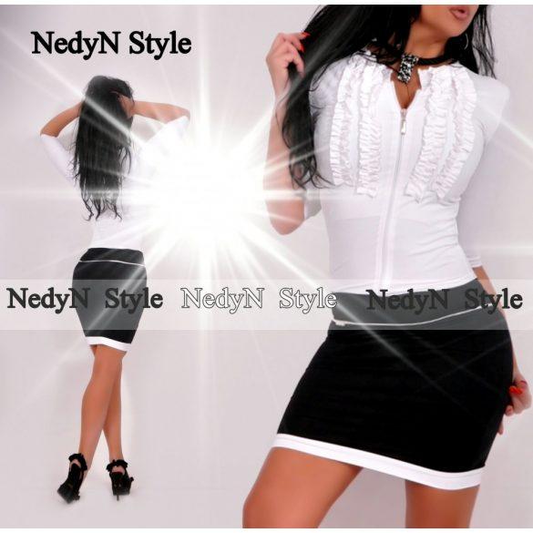 Bielo čierne šaty na zip (Krásne bielo čierne dámske šaty na zip)