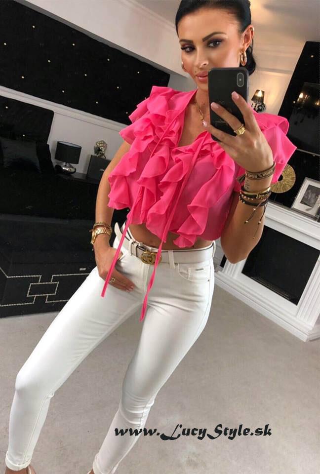 Dámsky ružový top s volánikmi (Štýlový dámsky top s volánikmi,ružový)