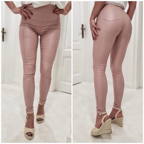 Dámske nohavice staro ružové (Štýlové dámske nohavice v staro ružovej farbe,koženka)