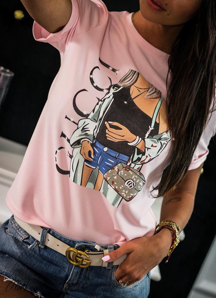 3dc9582dbca4 Štýlové dámske tričko s krátkym rukávom a potlačou
