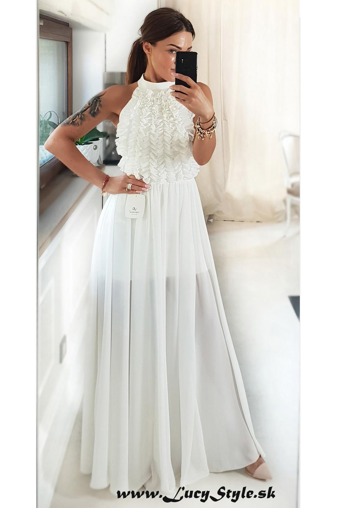 Luxusné spoločenské dámske šaty ,biele (Luxusné spoločenské dámske šaty ,biele)