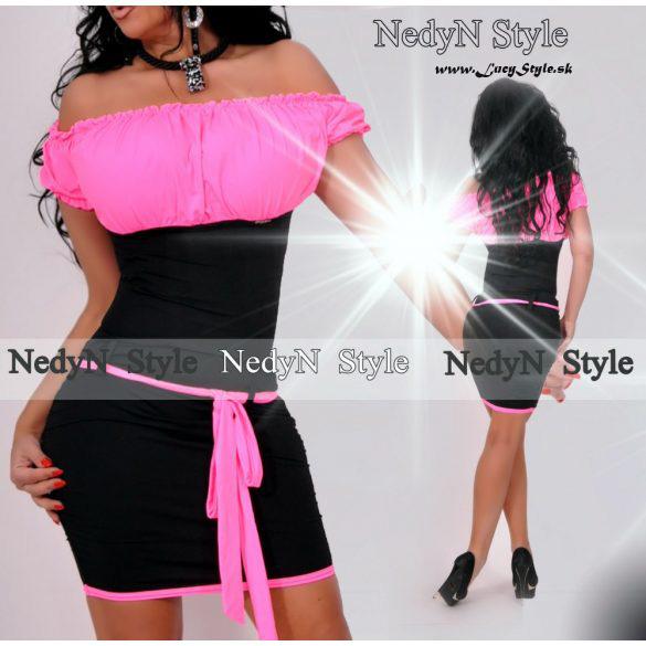 Dámske šaty ružovo čierne (Dámske šaty ružovo čierne)