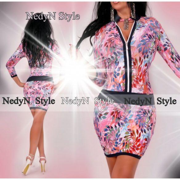 Dámske kvetované šaty na zips (Dámske kvetované šaty na zips,pink)
