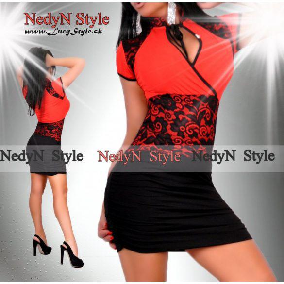 Dámske červeno čierne šaty s čipkou (Dámske červeno čierne šaty s čipkou)