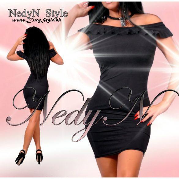 Dámske jednoduché čierne šaty s volánikom (Dámske jednoduché čierne šaty s volánikom)