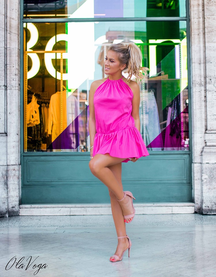 Dámske mini šaty volného strihu,ružové (Štýlové dámske mini šaty volného strihu,ružové)