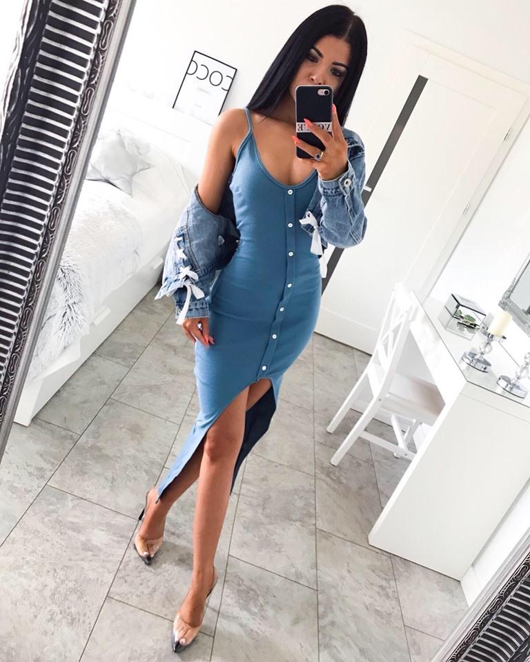 Dámske modré šaty na ramienka (Letné dámske modré šaty na ramienka)