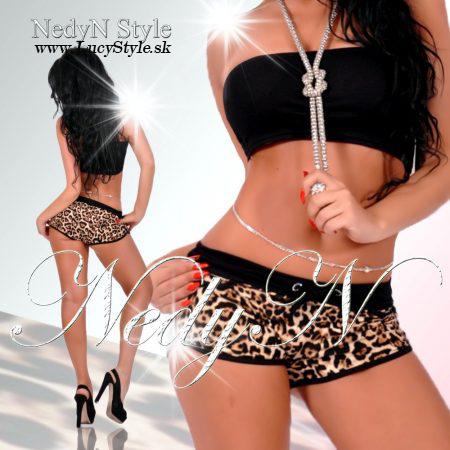 Dámske šortky,leopardie (Štýlové dámske šortky v leopardim vzore)
