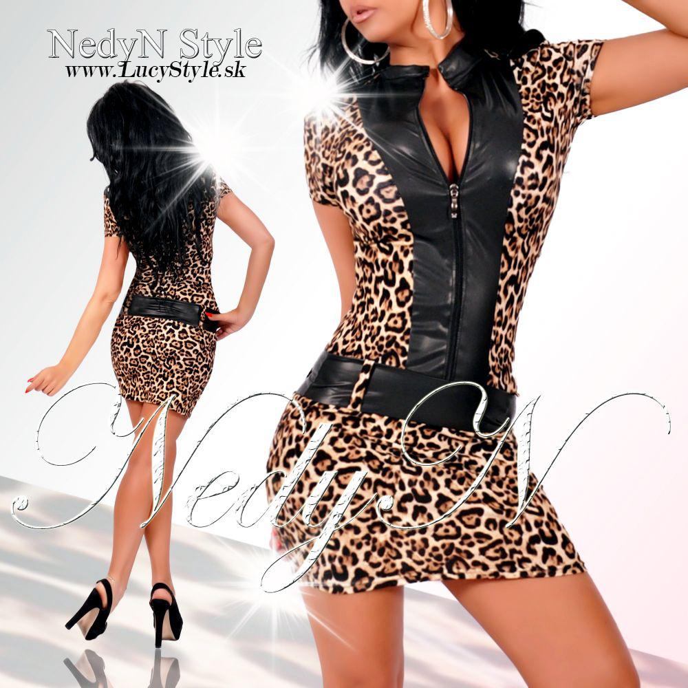c57ff0cbca Dámske leopardie šaty na zips