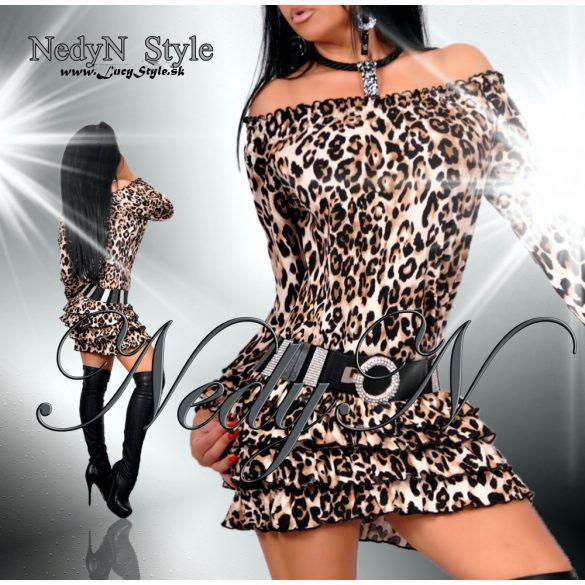 768ac8db2db4 Dámske leopardie šaty s volánikmi