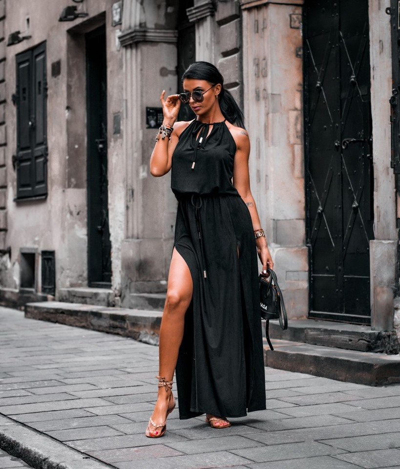 Dámske čierne maxi šaty (Dámske čierne maxi šaty na leto)